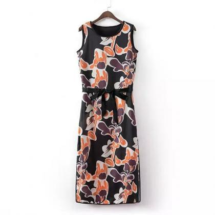 Improved bilateral retro print dress sleeveless dress split