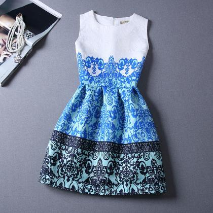 Spring and summer small fragrant wind retro print sleeveless vest tutu