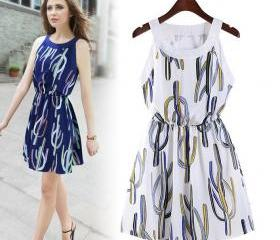 Summer new sleeveless chiffon dress small fresh printing