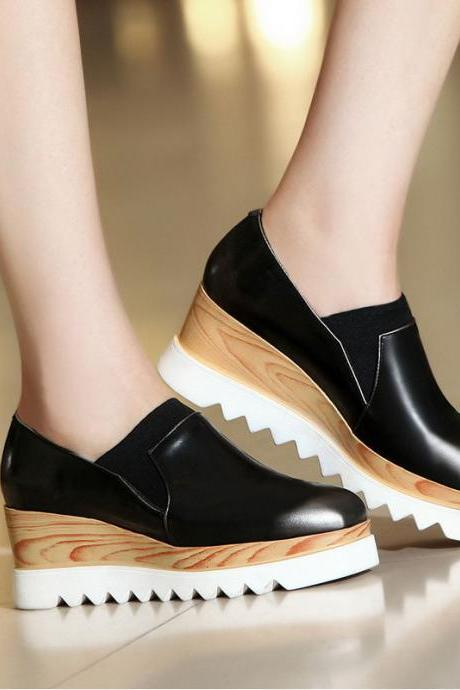 Slip-on Platform Sneakers featuring Wooden and Zig-Zag Sole