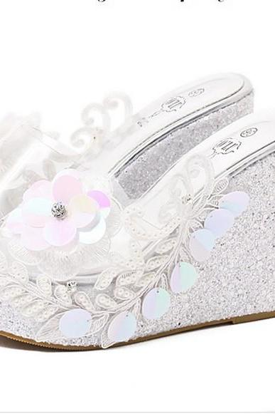 Wild summer muffin slope with high-heeled lace pearl diamond crystal sandals and slippers silver