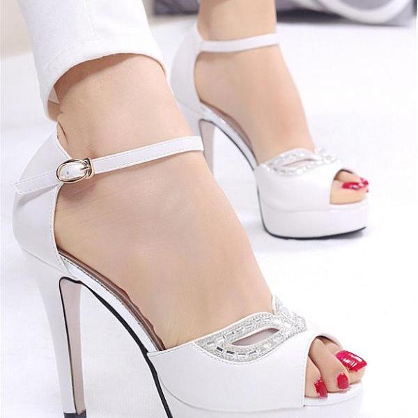 Rhinestone buckle sexy sandals fish head
