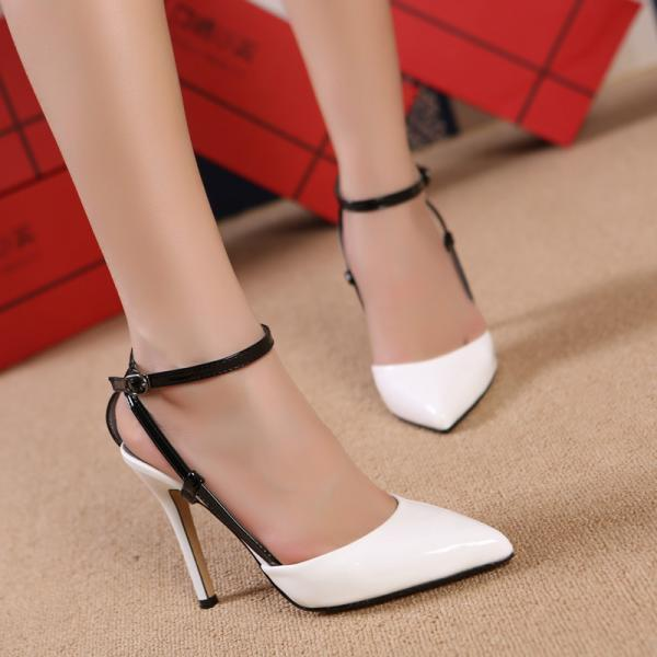 2015 autumn and summer new word buckle small pointed high-heeled shoes with thin straps Roman sandals mixed colors
