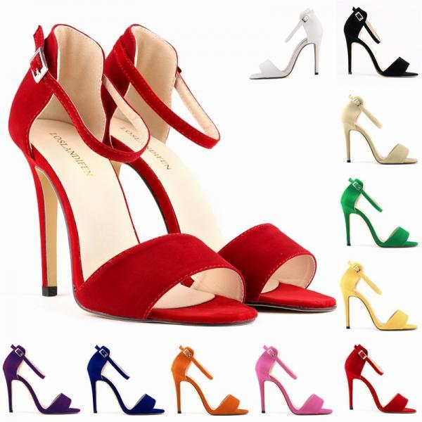 Strappy High Heel Stiletto Sandals in Solid Colors
