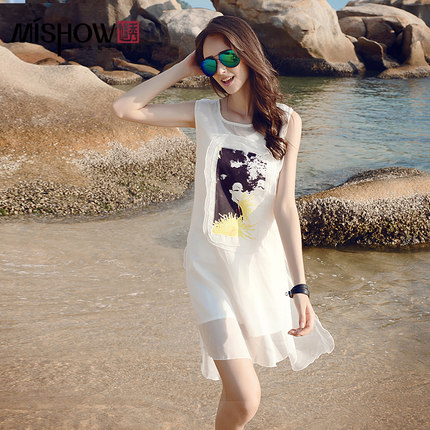 Europe station summer new printing Slim sleeveless chiffon skirt long section of female summer dress