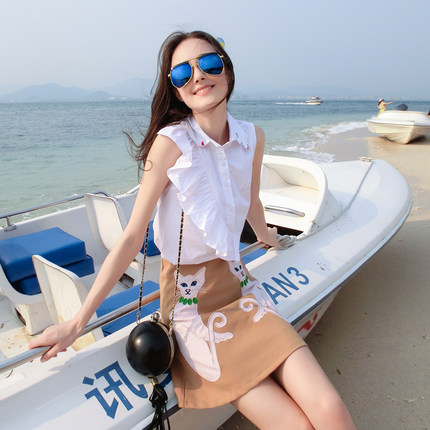 Summer new small fresh cloth embroidered sleeveless high pockets hip skirt two-piece dress solid color shirt Skirt Length
